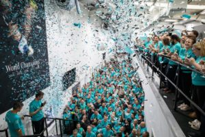 Custom confetti cannons in Mercedes F1 factory